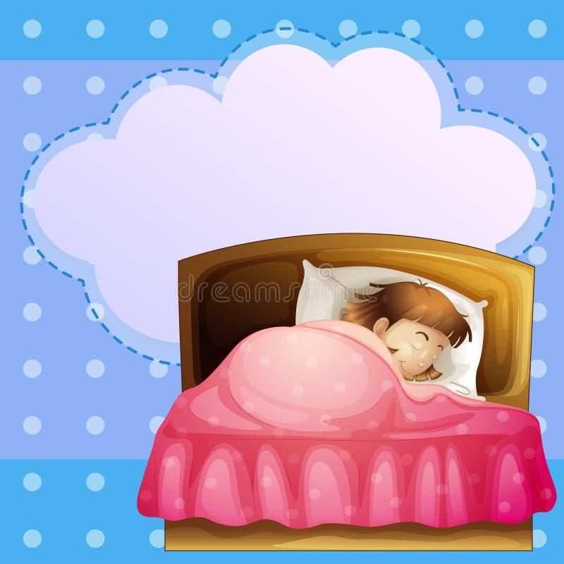 Une fille dormant solidement avec une légende vide illustration stock