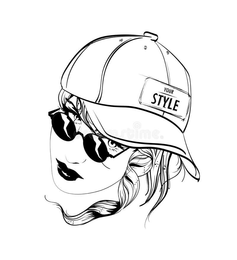 Une fille en casquette de baseball et verres illustration de vecteur