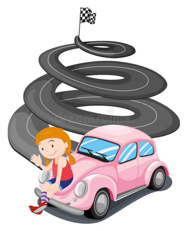 Une fille et sa voiture de course rose illustration stock