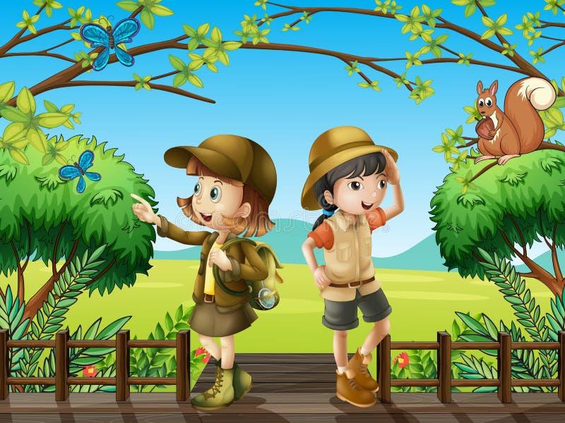 Une fille et un garçon au pont en bois illustration de vecteur