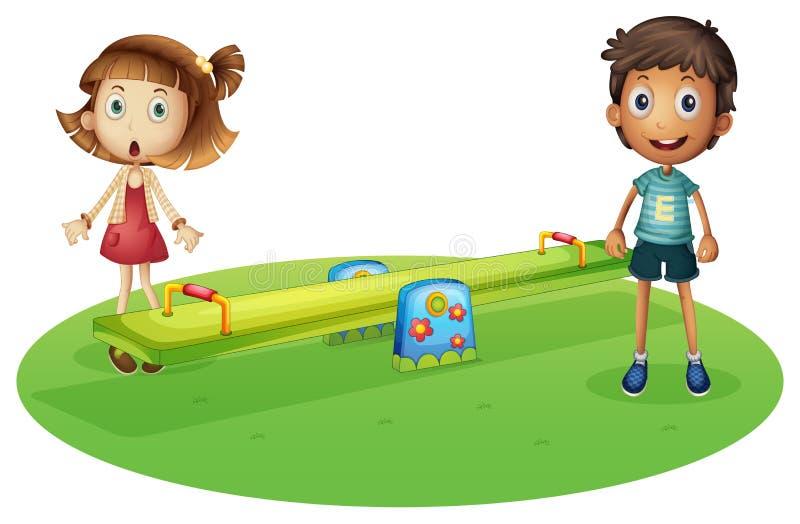 Une fille et un garçon près de la bascule illustration de vecteur
