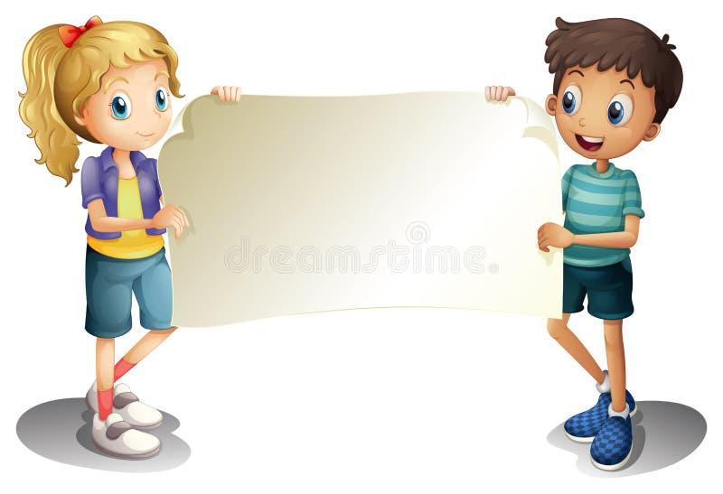 Une fille et un garçon tenant une bannière vide illustration libre de droits