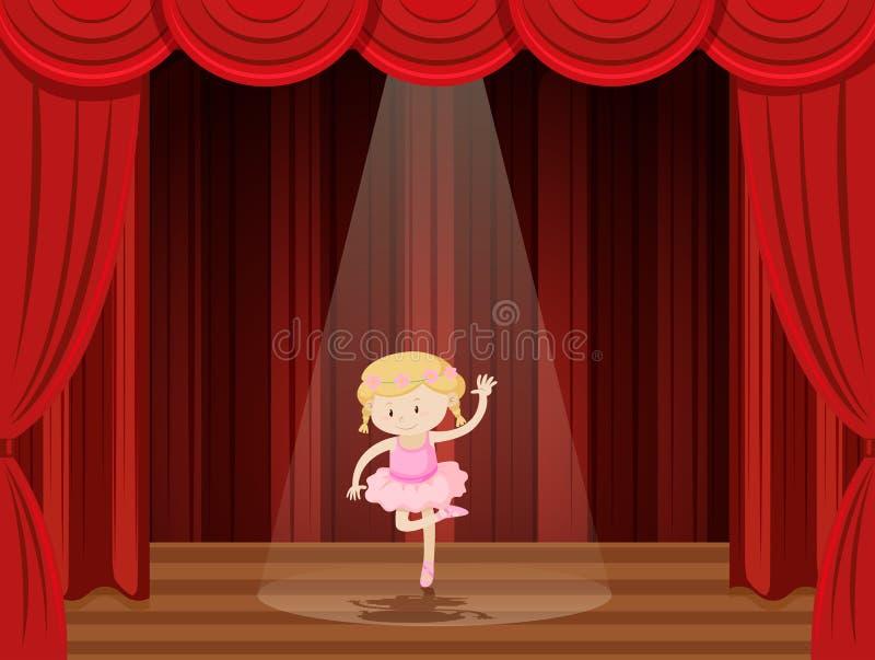 Une fille exécutent le ballet sur l'étape illustration de vecteur