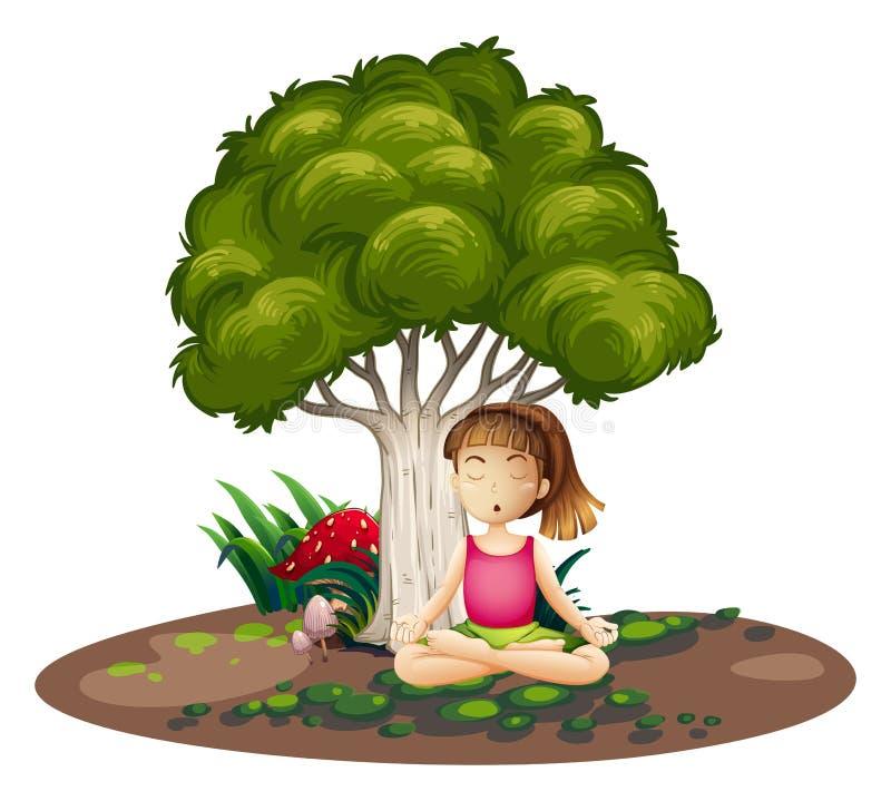 Une fille faisant le yoga sous l'arbre illustration de vecteur