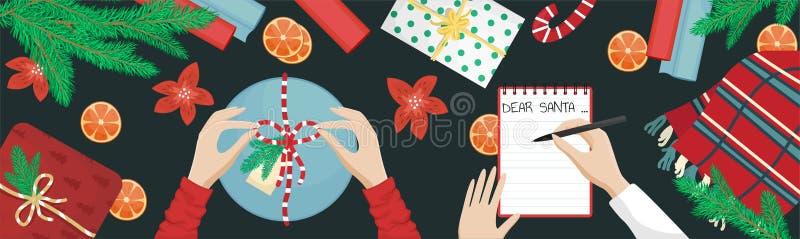 Une fille fait un cadeau de Noël et noue un arc. Une fille écrivant une liste de voeux Plat allongé avec la branche d'arbre de  illustration libre de droits