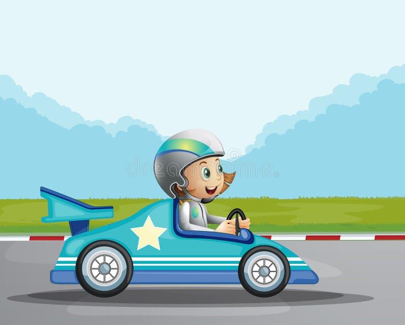 Une fille heureuse dans sa voiture de course bleue illustration de vecteur