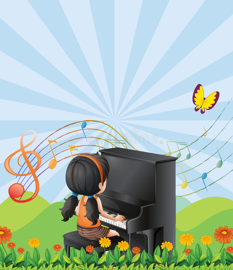 Une fille jouant avec le piano aux collines illustration de vecteur