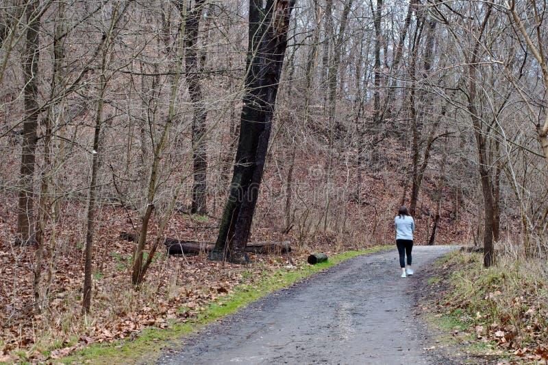 Une fille marchant sur un chemin de saleté dans les bois en parc de Fick images stock