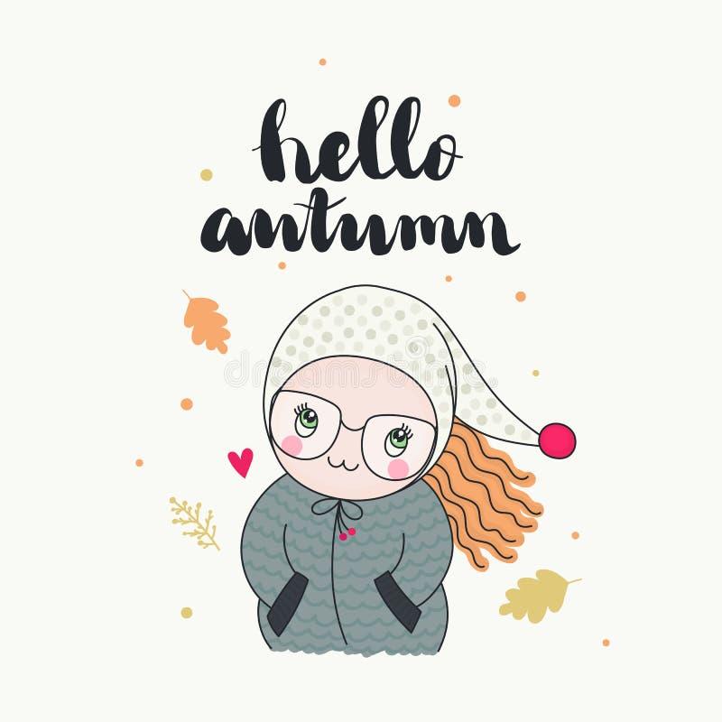 Une fille mignonne, bonjour carte d'automne illustration stock