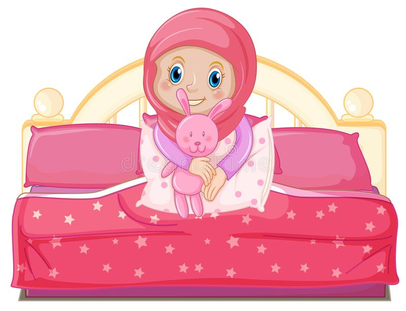 Une fille musulmane sur le lit illustration libre de droits