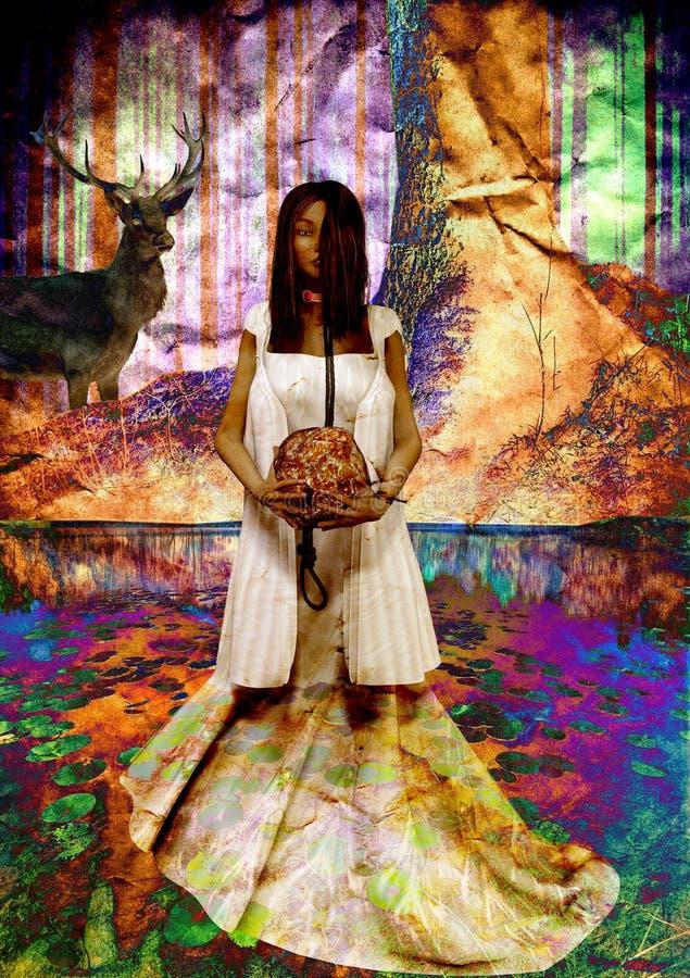 Une fille psichedelic avec une roche dans la main photos stock