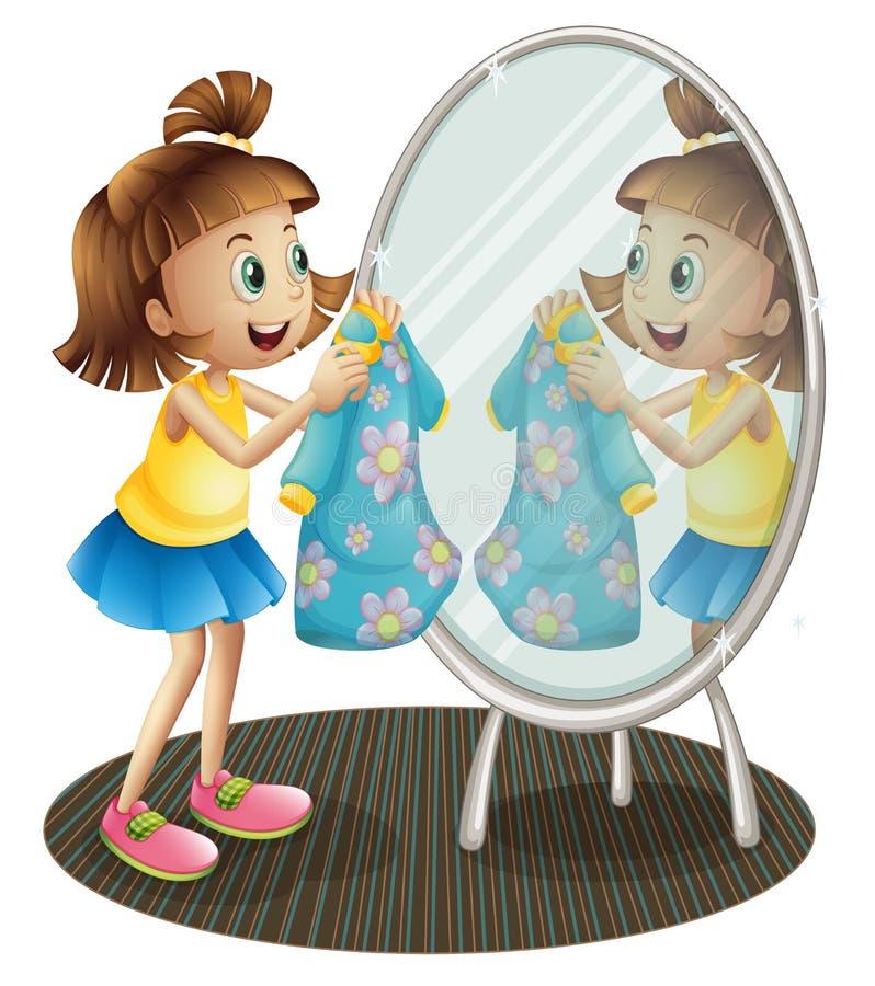 Une fille regardant le miroir avec sa robe illustration libre de droits