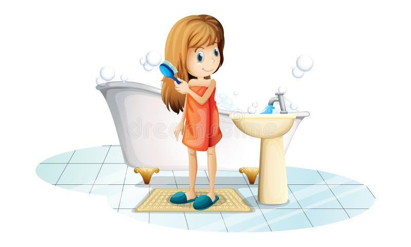 Une fille se peignant les cheveux illustration libre de droits