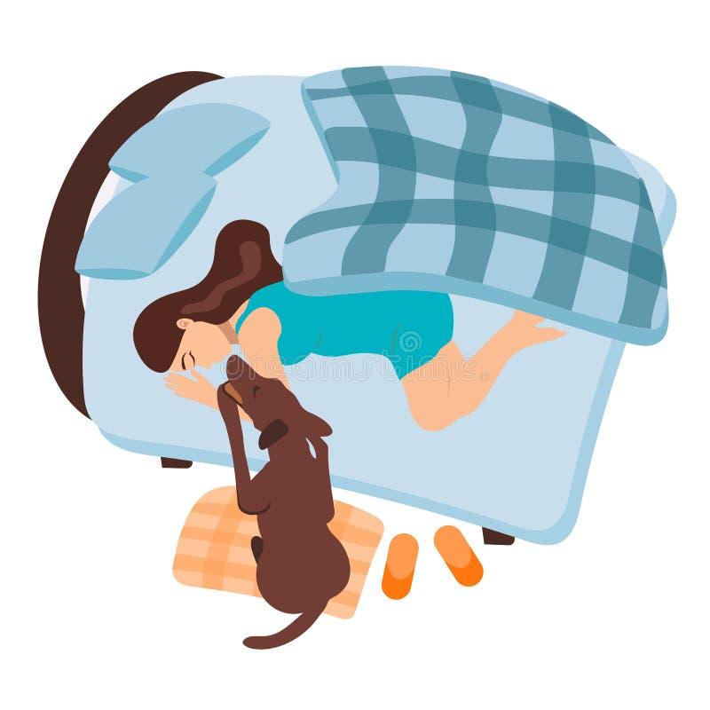 Une fille se réveille Le chien réveille une femme enceinte La fille avec son animal familier dort dans le lit Matin de turquoise  illustration libre de droits