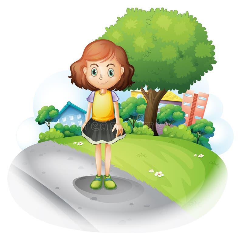 Une fille se tenant à la rue illustration stock
