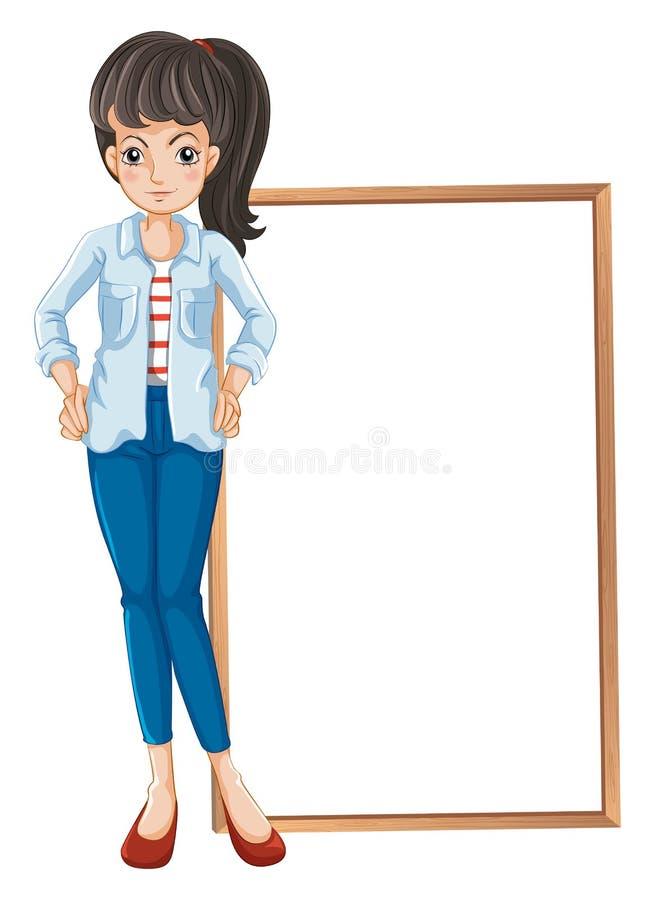 Une fille se tenant avec un blankboard au fond illustration libre de droits