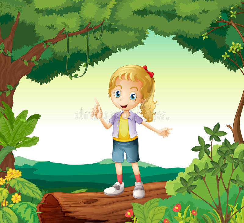 Une fille se tenant sur un bois sec illustration de vecteur