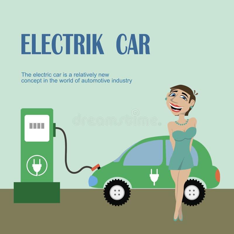 Une fille se tient près de la voiture électrique illustration de vecteur