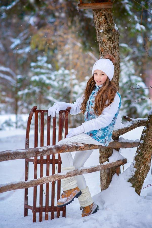 Une fille sur la promenade en parc couvert de neige d'hiver images libres de droits
