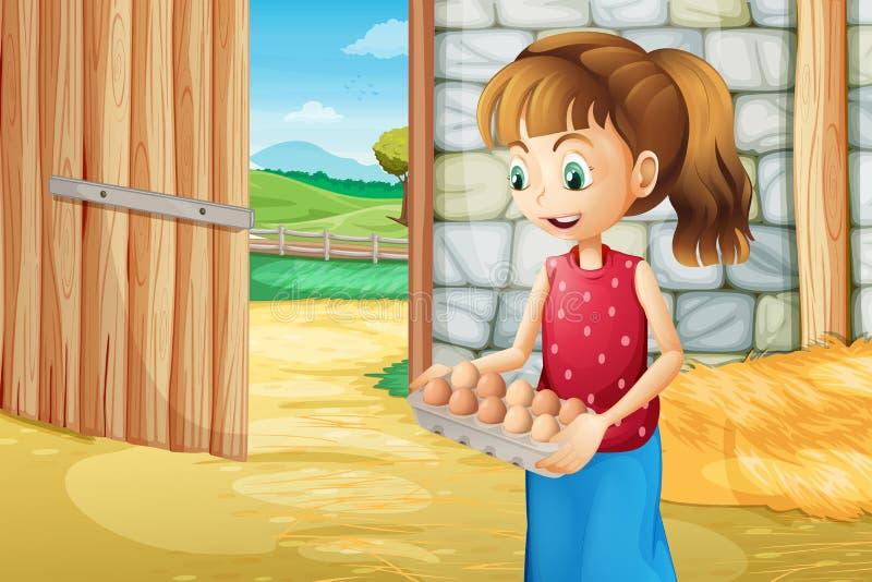 Une fille tenant un eggtray à l'intérieur du barnhouse illustration libre de droits