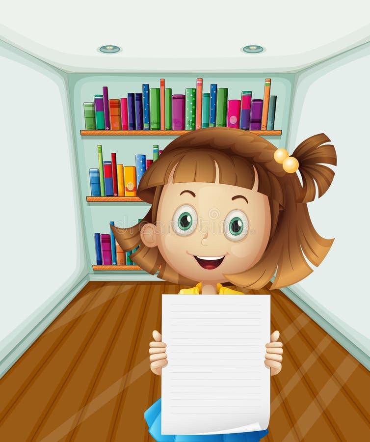 Une fille tenant un papier vide à l'intérieur de la salle illustration libre de droits