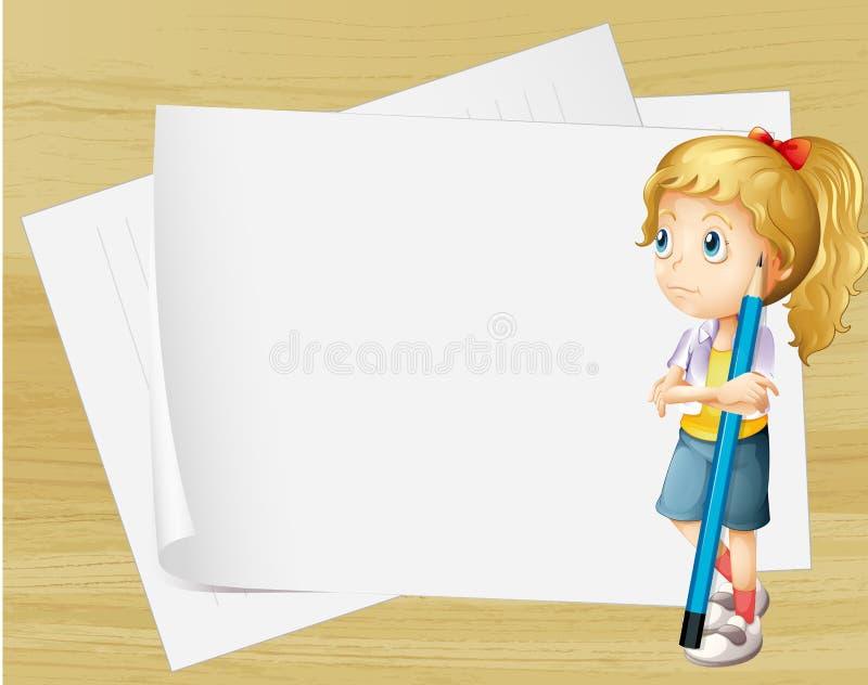 Une fille triste avec un crayon se tenant devant les papiers vides illustration libre de droits