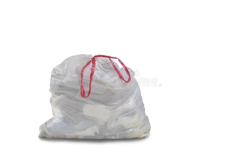 Une fin d'un sac de déchets blanc de déchets photos stock