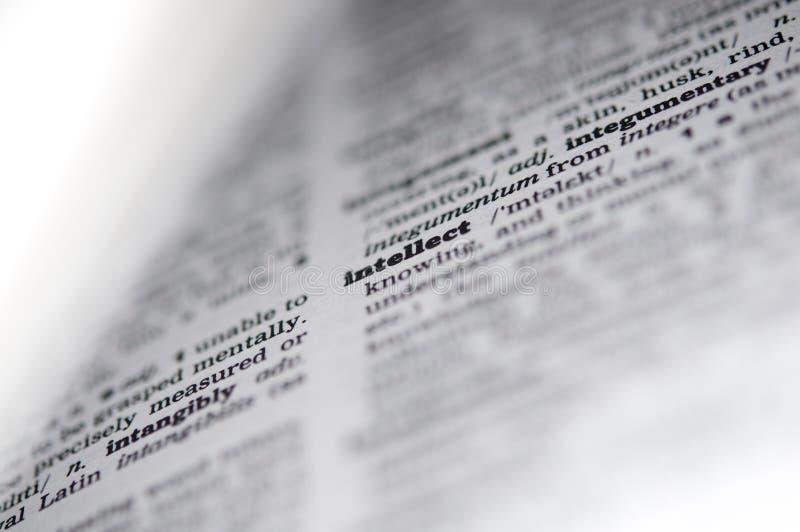 Une fin de dictionnaire vers le haut du mot, intellect photos libres de droits