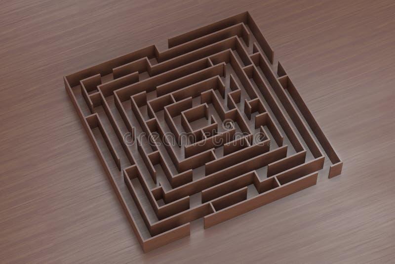 Une fin vers le haut d'image abstraite d'un labyrinthe de bois illustration de vecteur