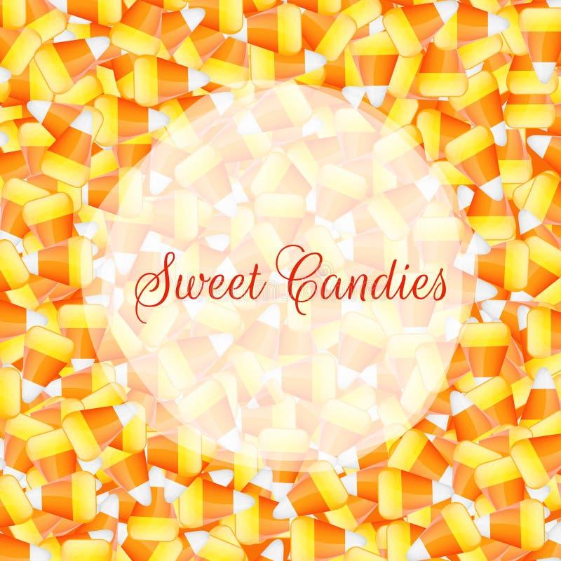 Une fin vers le haut de la pile de fond des bonbons au maïs illustration libre de droits