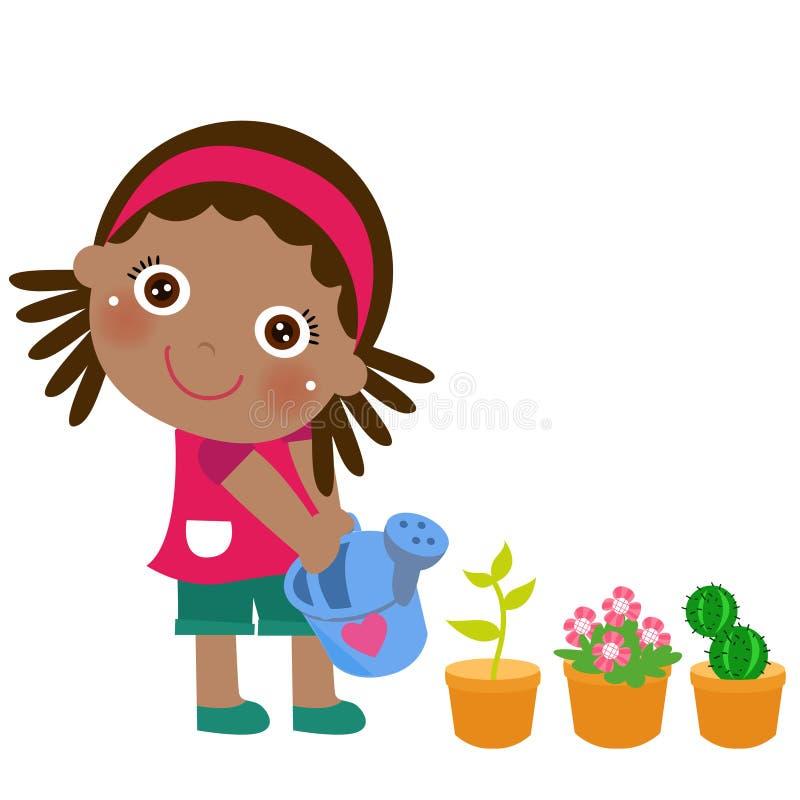 Une fleur de arrosage mignonne de petite fille