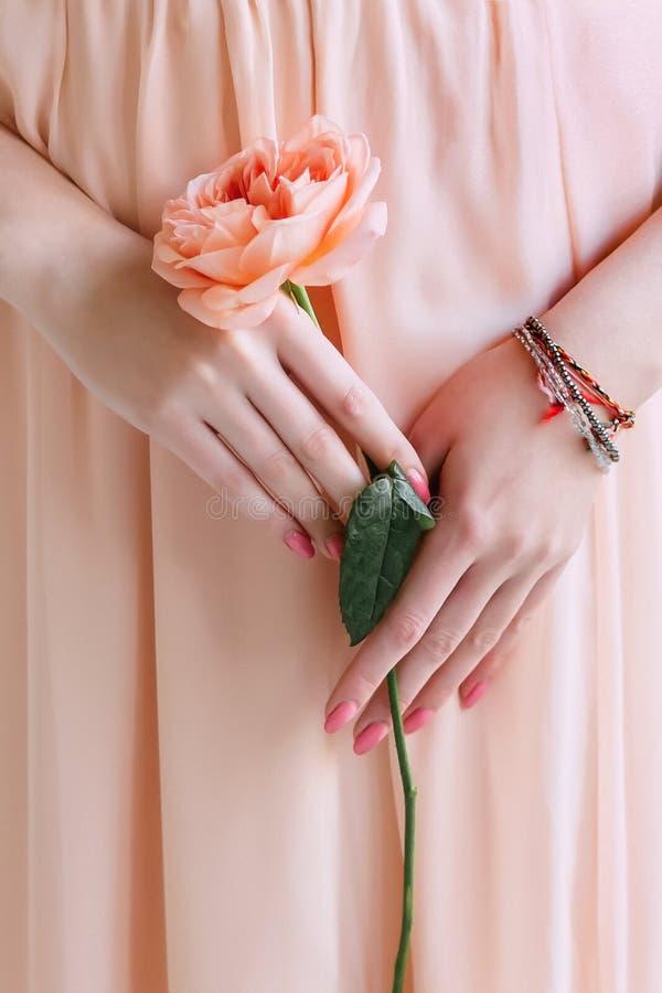 Une fleur rose sur sa hanche photographie stock