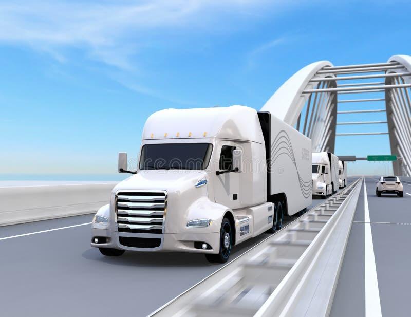 Une flotte de pile à combustible auto-motrice blanche a actionné les camions américains conduisant sur la route illustration stock