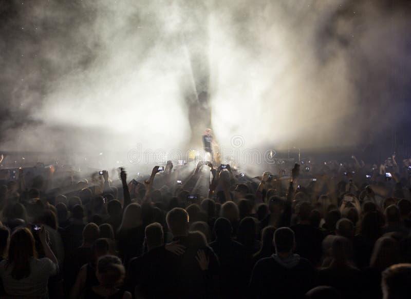 Une foule des personnes à un concert photographie stock libre de droits