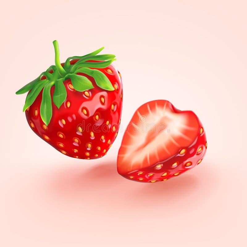 Une fraise rouge dédoublée dans la moitié illustration stock