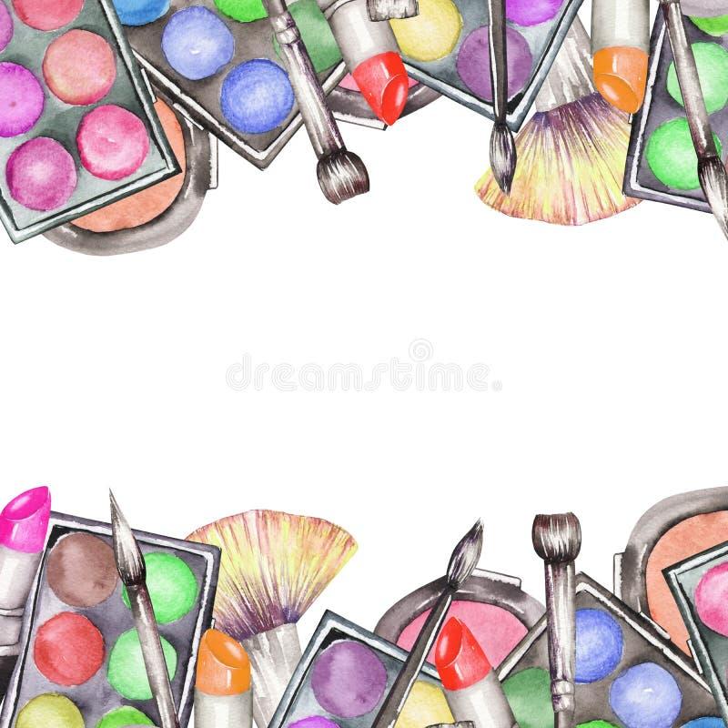 Une frontière de cadre avec le maquillage d'aquarelle usine : fard à joues, fard à paupières, rouge à lèvres et brosses de maquil illustration libre de droits