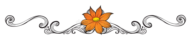 Une frontière orange de fleur illustration libre de droits