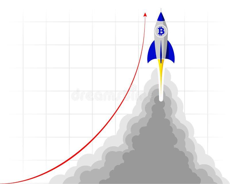 Une fusée avec le vol de logo de bitcoin dans l'espace Lançant ou lançant un projet important illustration libre de droits