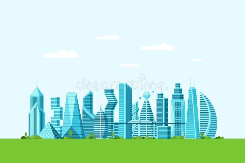 Une future écoville détaillée avec différents bâtiments architecturaux gratte-ciel appartements et arbres verts Multitude futuris illustration libre de droits