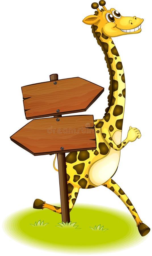 Une girafe fonctionnant au fond d'un panneau en bois de flèche illustration stock