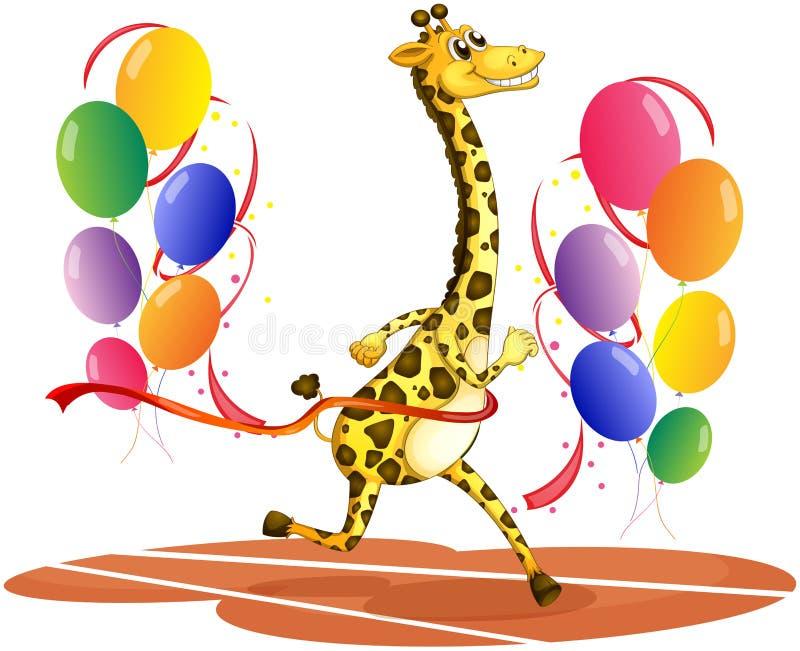 Une girafe fonctionnant avec les ballons colorés illustration libre de droits