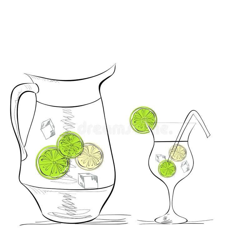 Une glace de l'eau avec la limette illustration stock