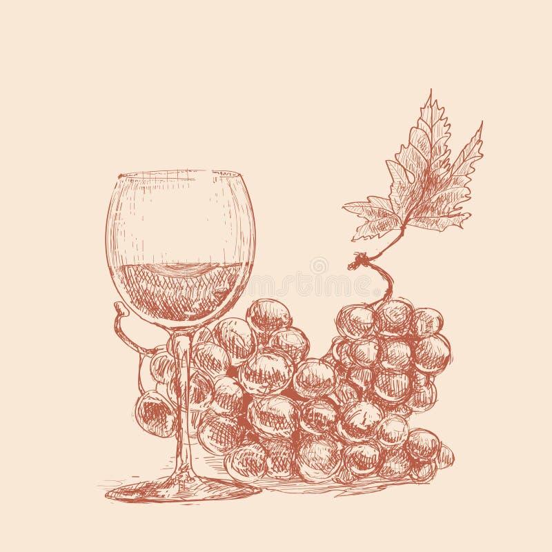 Une glace de vin et deux groupes de raisins illustration de vecteur