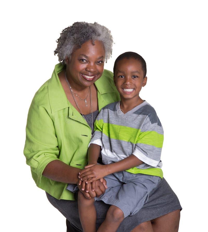 Une grand-mère et son petit-fils image stock