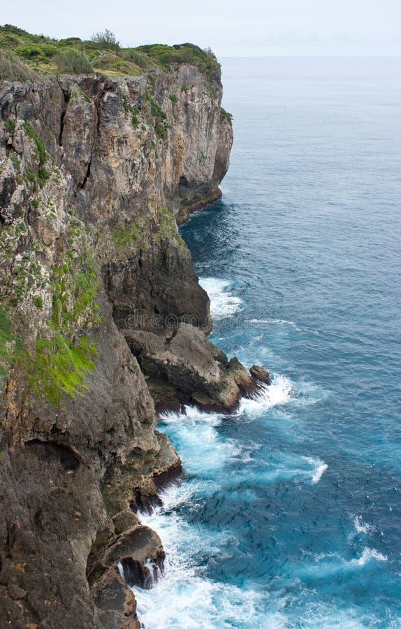 Une grande falaise avec le crashng de vagues contre lui au Tonga images stock