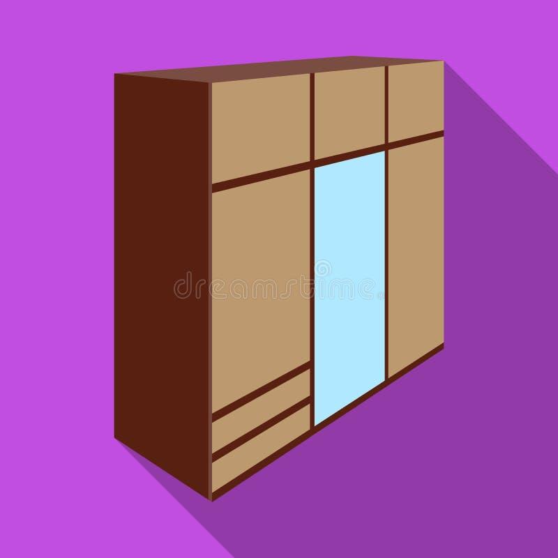 Une grande garde-robe de chambre à coucher avec le mirrow et les un bon nombre de tiroirs et de cellules Icône simple de meubles  illustration libre de droits