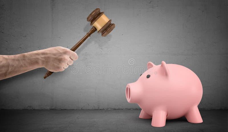 Une grande main masculine tenant des distillateurs d'un marteau de juge au-dessus d'une tirelire intacte sur le fond concret photographie stock libre de droits