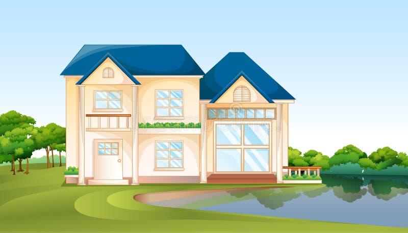 Une grande maison près du lac illustration de vecteur