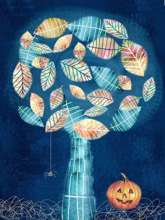 Une grande toile d'araignée avant de lune lumineuse étrange Petite araignée, arbre mystérieux et potiron illustration libre de droits