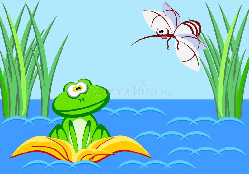 Une grenouille étonnée se repose dans un nénuphar et regarde un moustique énorme image stock